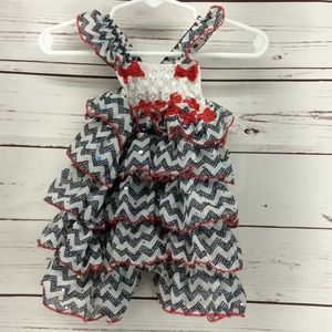 Little Lass Baby Red USA Romper